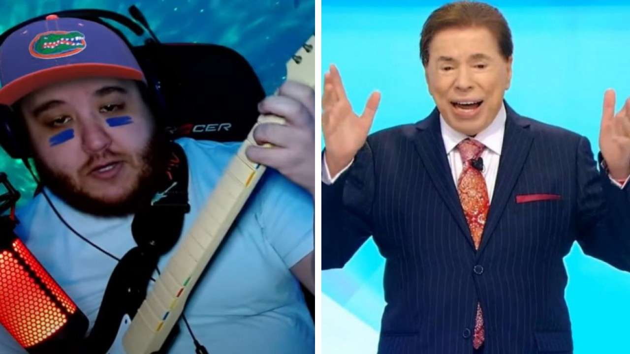 Guilherme Alves tocando guitarra e Silvio Santos cantando