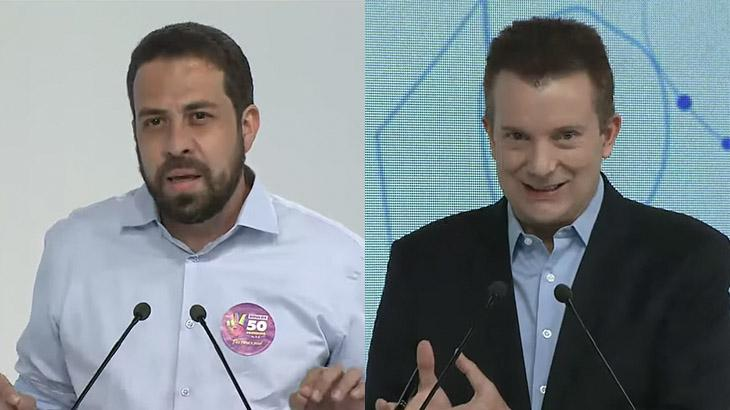 Guilherme Boulos e Celso Russomanno em debate da Band
