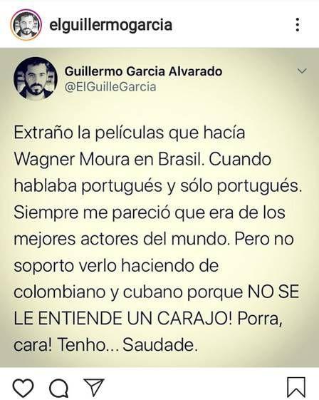 """Wagner Moura é criticado por ator: \""""Não suporto vê-lo fazer colombiano e cubano\"""""""