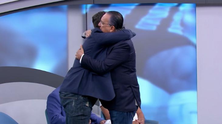 """Galvão Bueno apresenta Gustavo Villani no SporTV:  \""""excelente narrador, jovem e com ótimo futuro\"""""""