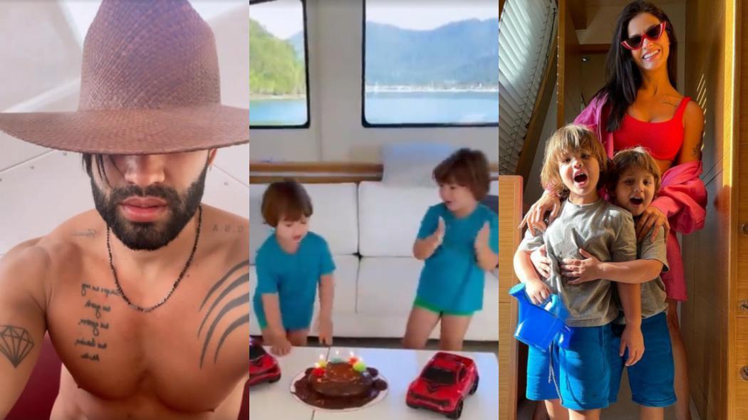 Gusttavo Lima e Andressa Suita curtem fim de semana em iate ao lado dos filhos, Gabriel e Samuel