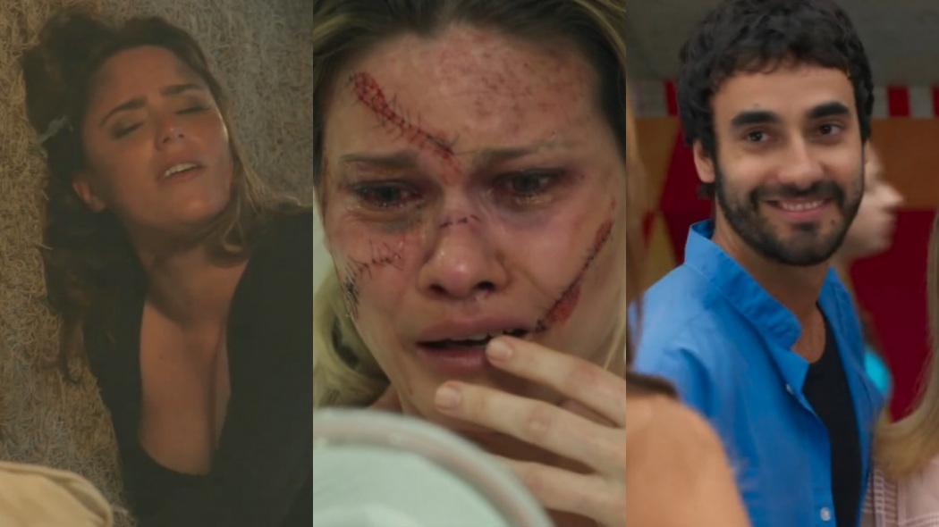 Fernanda Vasconcellos, Karen Junqueira e Gabriel Godoy na novela Haja Coração, em reprise na Globo