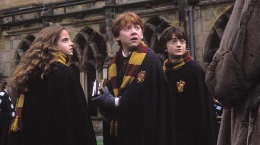 Hermione, Weasley e Harry Potter olhando com cara de assustados pra trás
