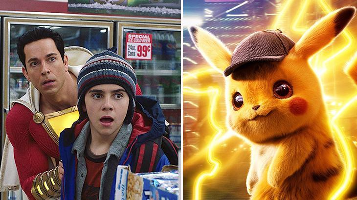 Cenas do filmes Shazam! e Pokémon: Detetive Pikachu em montagem do NaTelinha