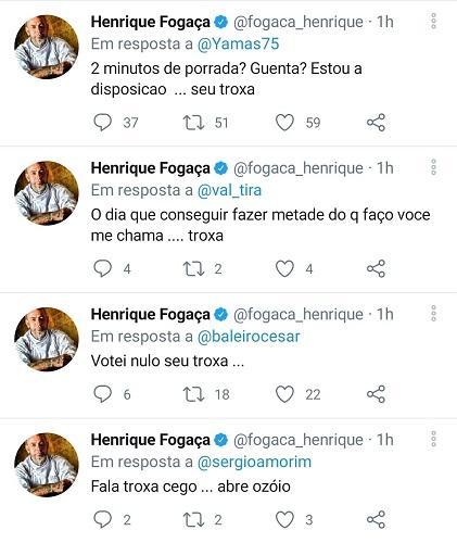 """Henrique Fogaça perde o controle e parte para o ataque: \""""Vaca\"""""""