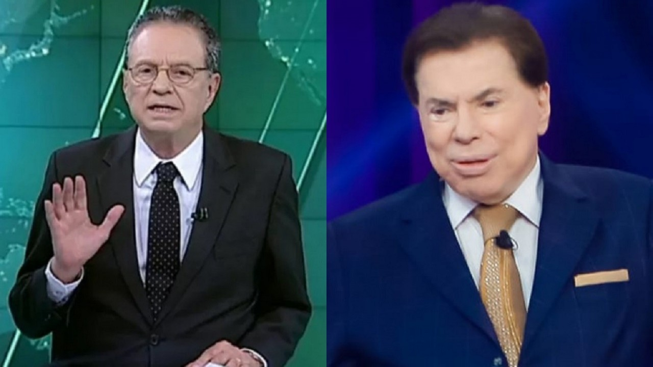 Montagem de Hermano Henning na bancada de telejornal e Silvio Santos no SBT