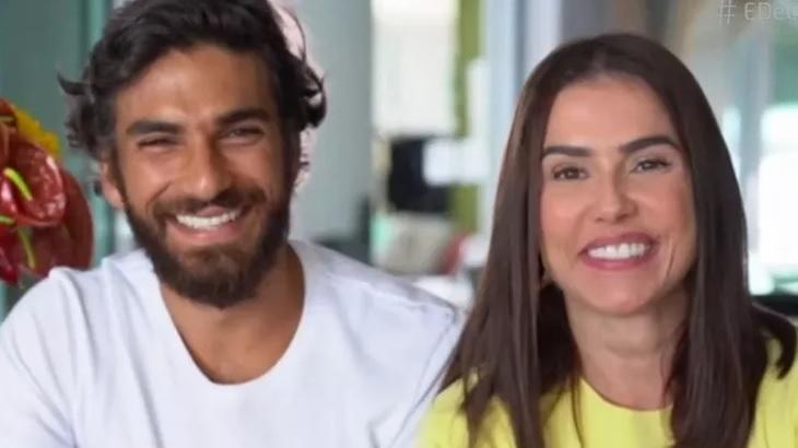 Hugo Moura e Deborah Secco em entrevista ao É de Casa, na Globo