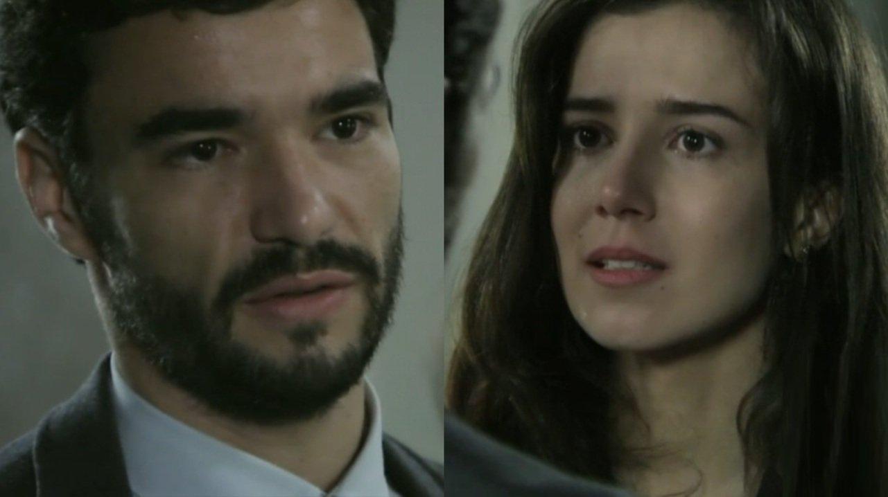 Caio Blat e Marjorie Estiano em cena da novela Império, em reprise na Globo