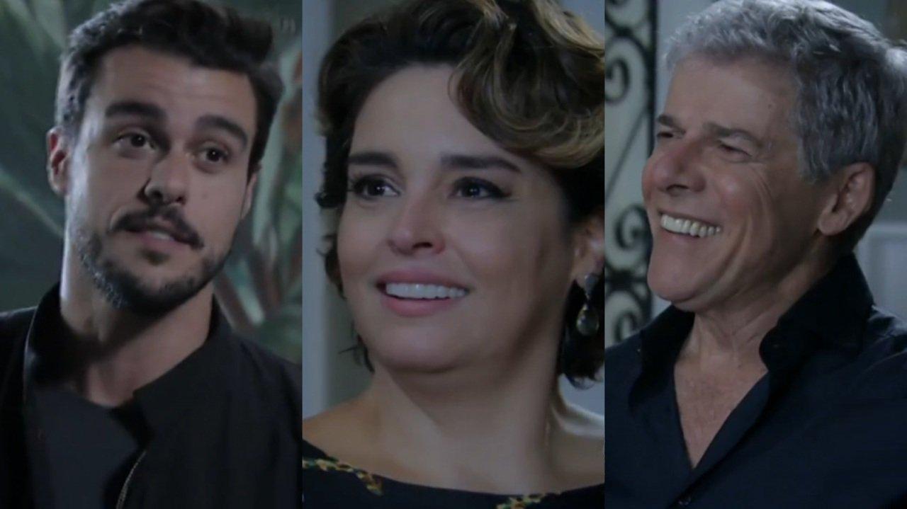 Joaquim Lopes, Suzy Rêgo e José Mayer em cena do último capítulo da novela Império, em reprise na Globo