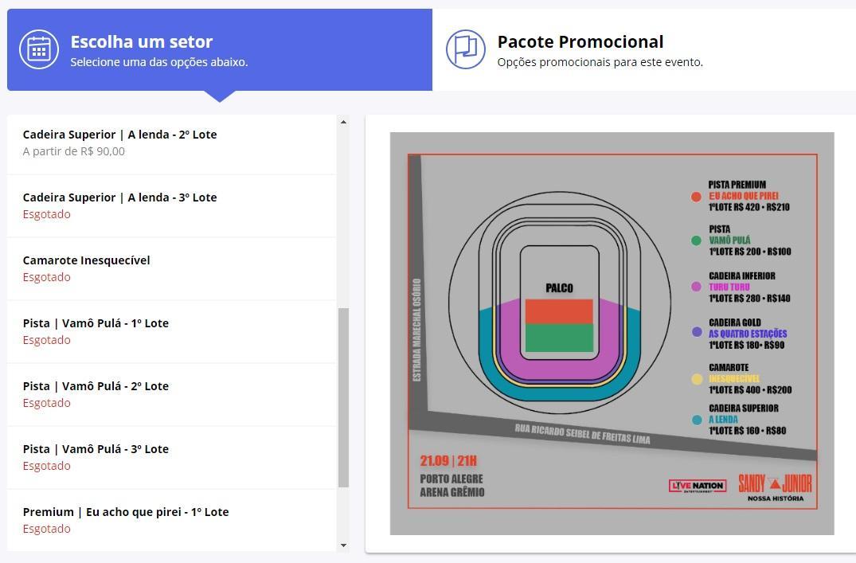 Alta demanda atrapalha compra de ingressos de Sandy & Junior em Porto Alegre