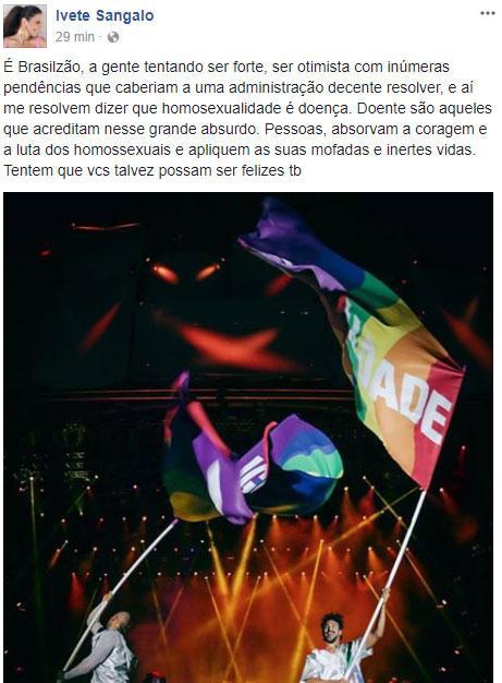 Famosos protestam contra decisão de justiça para tratamento contra homossexualidade