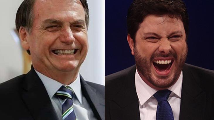 Jair Bolsonaro e Danilo Gentili sorrindo