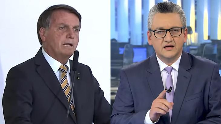 O presidente Jair Bolsonaro e o apresentador Aldo Quiroga