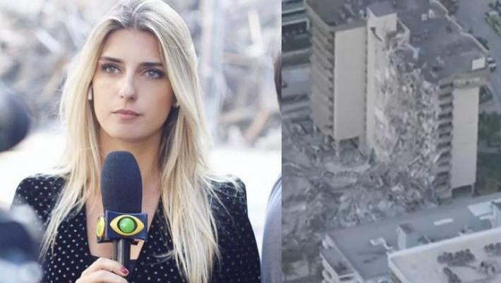 Joana Treptow e prédio que desmoronou
