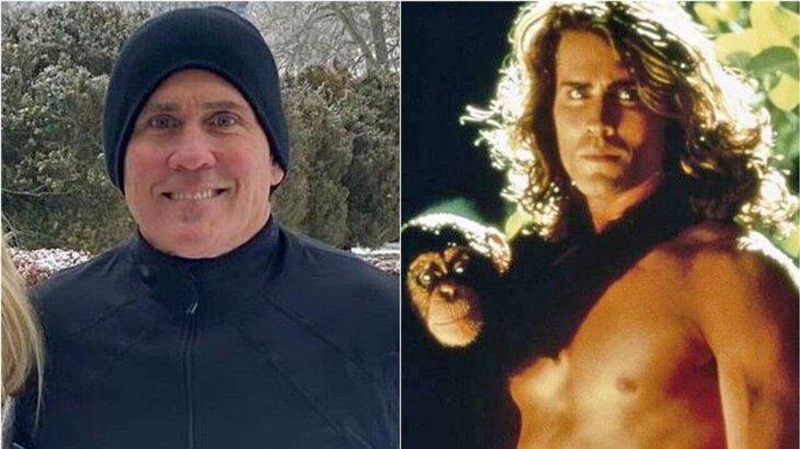 Joe Lara sorridente para foto; Joe Lara com macaco no pescoço, caracterizado como Tarzan