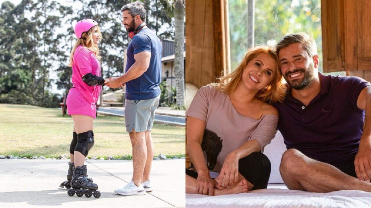 Montagem de fotos de Joelma de patins, joelheira e capacete de mãos dadas com Ewerton Martin e os dois sorridentes, sentados em uma cama