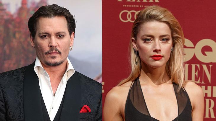Colagem em que Johnny Depp e Amber Heard aparecem lado a lado sérios