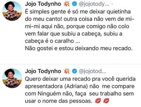 Jojo Todynho não gosta de brincadeira e manda recado para Adriane Galisteu