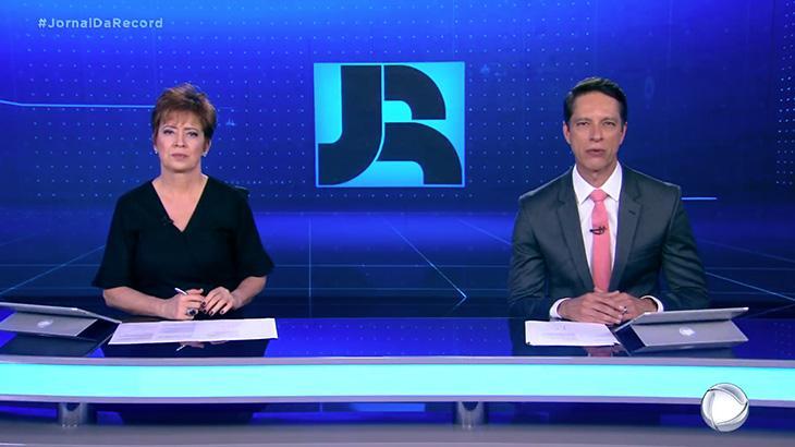 Christina Lemos e Sergio Aguiar, apresentadores do Jornal da Record