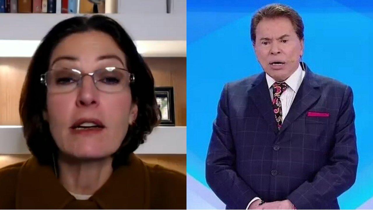 Cristina Graeml (à esquerda) e Silvio Santos (à direita) em foto montagem