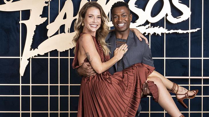Juliana Didone com seu bailarino no Super Dança dos Famosos