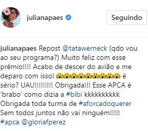 """Um dia após lamentar perda do \""""Troféu Domingão\"""", Juliana Paes comemora prêmio de críticos de arte"""