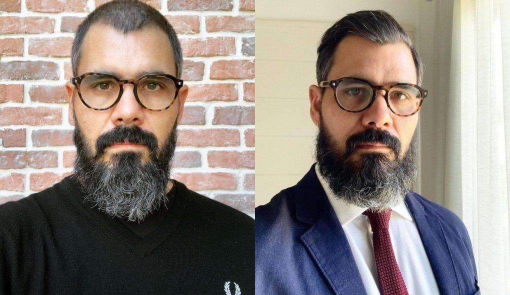 Montagem de Juliano Cazarré sério, de barba e óculos de grau