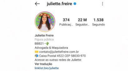 BBB21: Juliette conquista 22 milhões de seguidores no Instagram