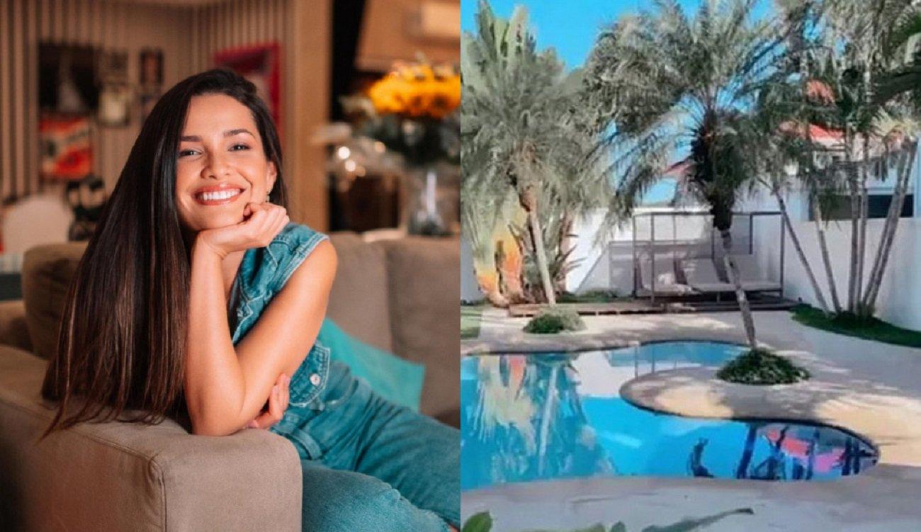 Montagem de Juliette sorridente com a mão no queixo, sentada em um sofá e foto da piscina da casa que ela alugou na Barra da Tijuca, zona oeste do Rio