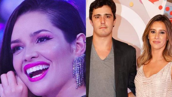Na foto, Juliette sorrindo de um lado e Thiago Rodrigues e Cris Dias do outro