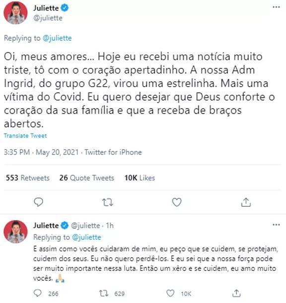 Ex-BBB Juliette se pronuncia após morte de integrante de sua equipe por Covid-19