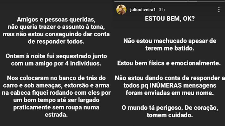Ator Júlio Oliveira diz ter sido sequestrado