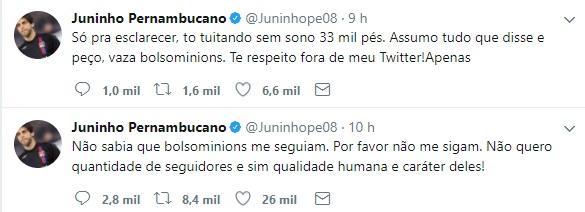 """Juninho Pernambucano pede para que eleitores de Bolsonaro não o sigam: \""""Vaza, bolsominions\"""""""