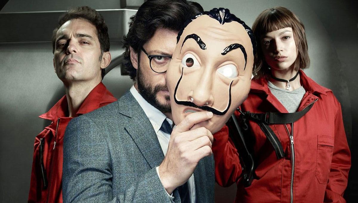 Professor com máscara de Salvador Dali em La Casa de PApel