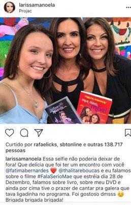 """Foto de Larissa Manoela ao lado de Fátima Bernardes ganha \""""like\"""" do SBT"""