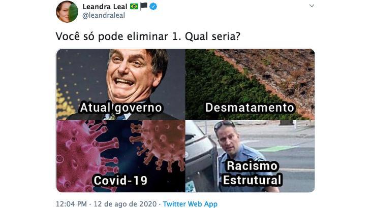 "Leandra Leal sugere eliminar \""Bolsonaro, racismo ou coronavírus\"""