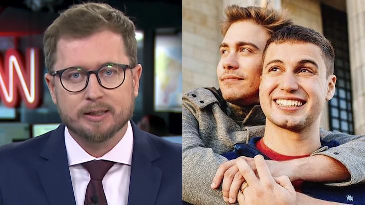 Leandro Narloch, comentarista da CNN Brasil, e Pedro Figueiredo, repórter da Globo, com o marido, Erick Rianelli