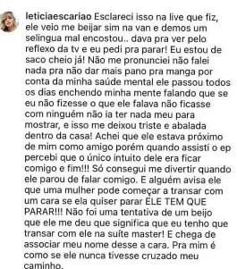 """De Férias com o Ex: Letícia explica \""""fora\"""" em Nakagima: \""""Preferi não me magoar\"""""""