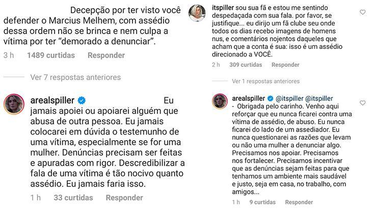 """Após elogiar Melhem, Letícia Spiller diz que \""""jamais apoiou abusador\"""""""