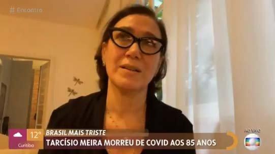 Lília Cabral chorando ao vivo no Encontro