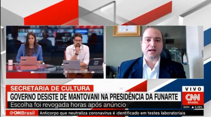Phelipe Siani e Mari Palma entrevistam Dante Mantovani na CNN Brasil