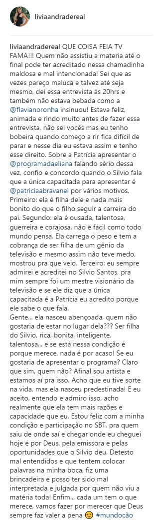 Lívia Andrade esclarece polêmica com Patricia Abravanel