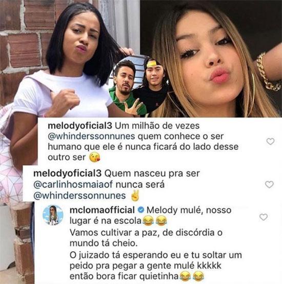 MC Loma alfineta MC Melody em briga de Carlinhos e Whindersson Nunes