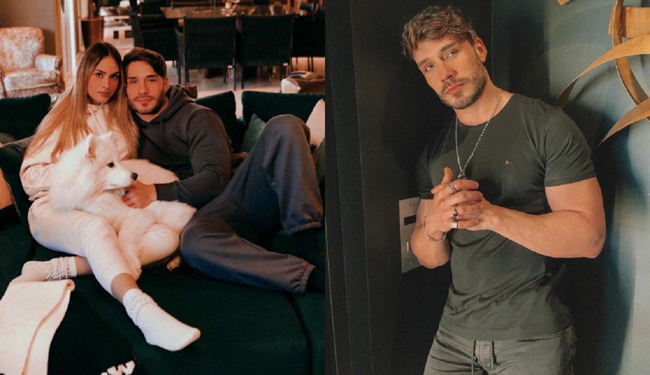 Sarah Andrade e Lucas Viana abraçados com um cachorro branco e o molode aparece encostado na parede com as mãos cruzadas na segunda foto