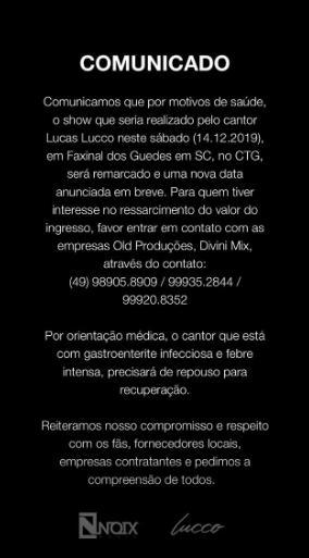 Lucas Lucco cancela show em Santa Catarina por problemas de saúde