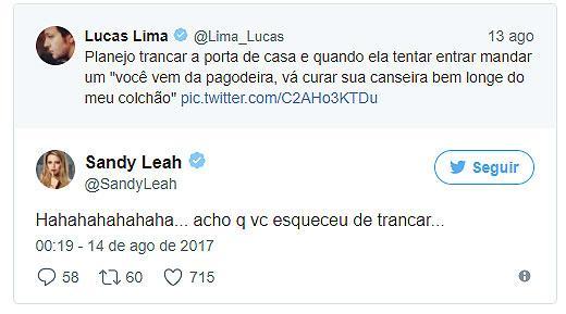 """Lucas Lima dá \""""bronca\"""" em Sandy e ela rebate bem-humorada"""