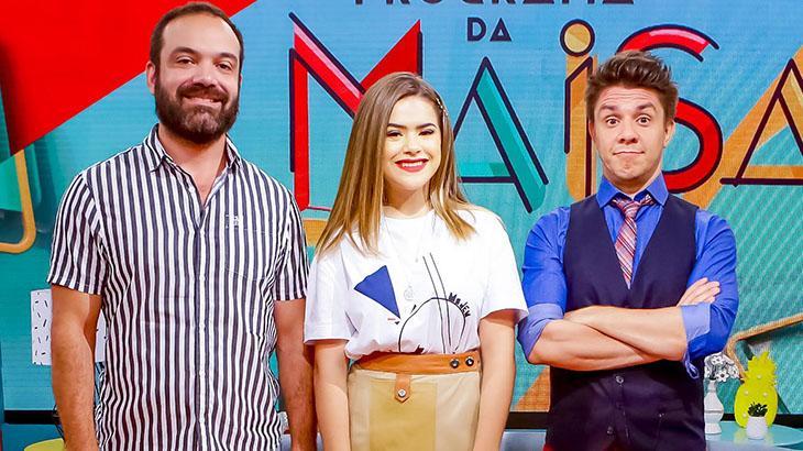 Lucas Gentil, diretor do Programa da Maisa, ao lado de Maisa e Oscar Filho