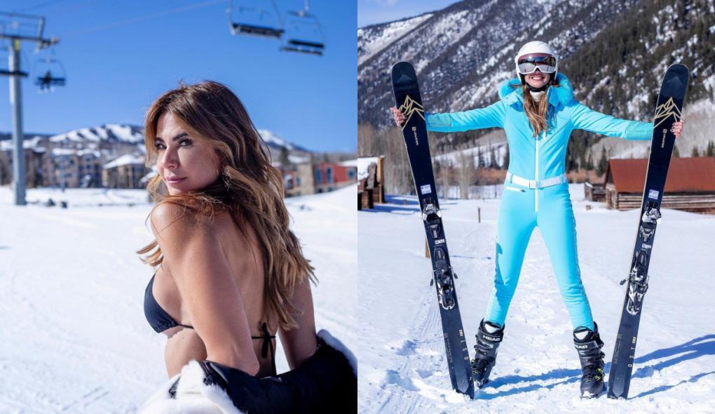 Montagem com Luciana Gimenez de biquíni com a neve ao fundo e esquiando com um macacão azul claro em Colorado