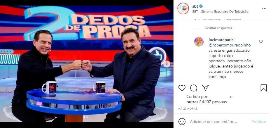 """Após ida ao SBT, diretora do Ratinho dispara indireta para Dória: \""""Não suporto\"""""""
