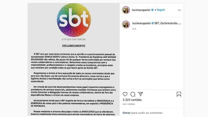SBT desmente texto contra Gentili e pró-Bolsonaro